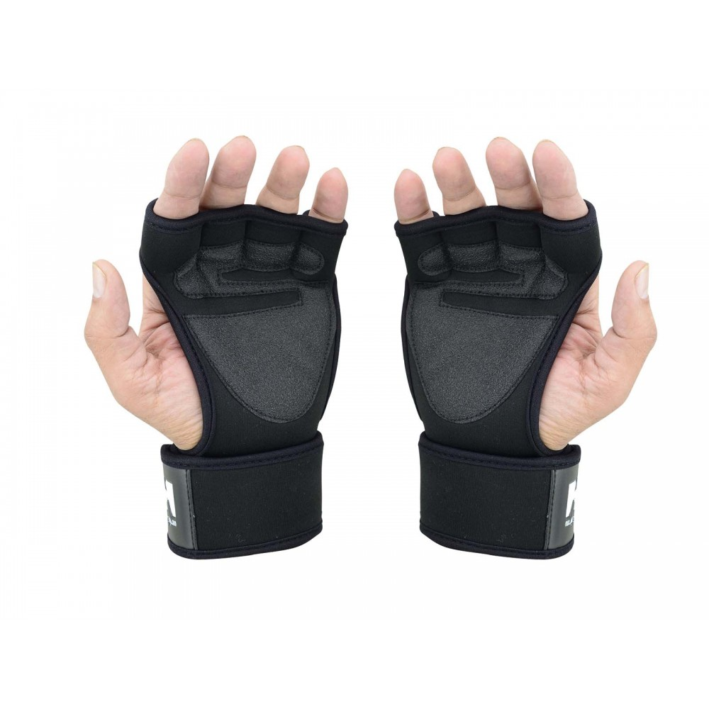 Chzl Mens Au Leather Velcro Weight Lifting Fitness: LONG WRIST WRAPS GLOVES NEOPRENE HG-570